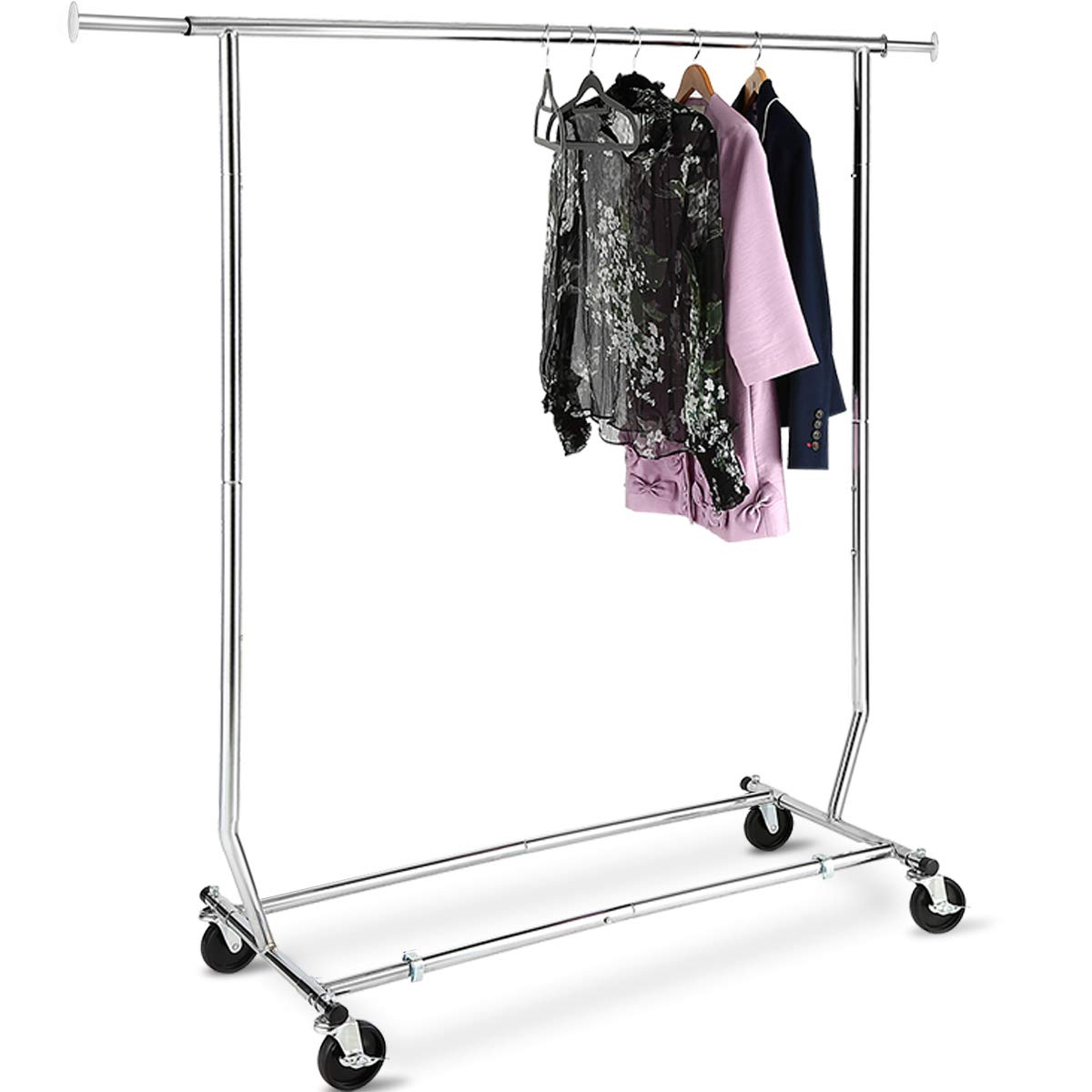 TomCare Garment Rack Double Clothes Racks Adjustable Clothing Rack Extensible Clothes Hanging Rack Commercial Grade Garment Rolling Racks for Hanging Heavy Duty Stainless Steel Garment Rack on Wheels E-2002
