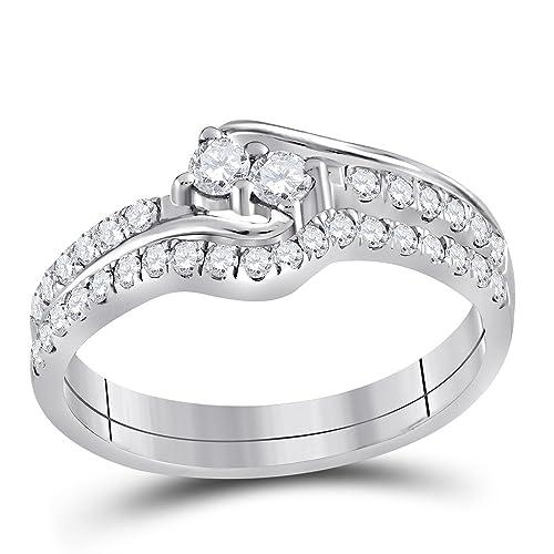 10 kt oro blanco para mujer diamante redondo 2-stone novia boda anillo de compromiso