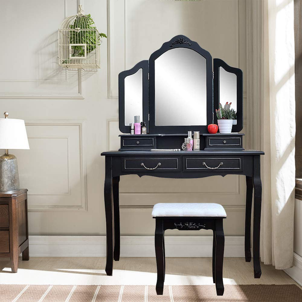 Black Modern Dressing Table With Vanity Mirror Drawer And Stool NEW STOCK