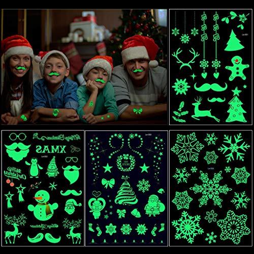 Kids Christmas Tattoos(4Sheet 85Deigns), Christmas Luminous Glow in The Dark Temporary Tattoo Stickers Fake Tattoos Party Bag Filler Favor Accessory Supplies Pack for Kids Women Man Children -