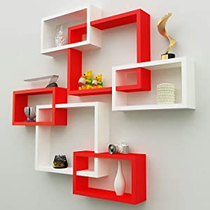 Encore Decor Wall Decor Shelf Rack/Floating Shelves/Book Shelf/Intersecting Display Storage Shelf for Wall Mount with 6 Shelves - Red and White