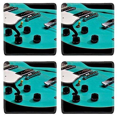 (MSD Square Coasters Non-Slip Natural Rubber Desk Coasters design 20833582 A close view of a hollow body guitar)