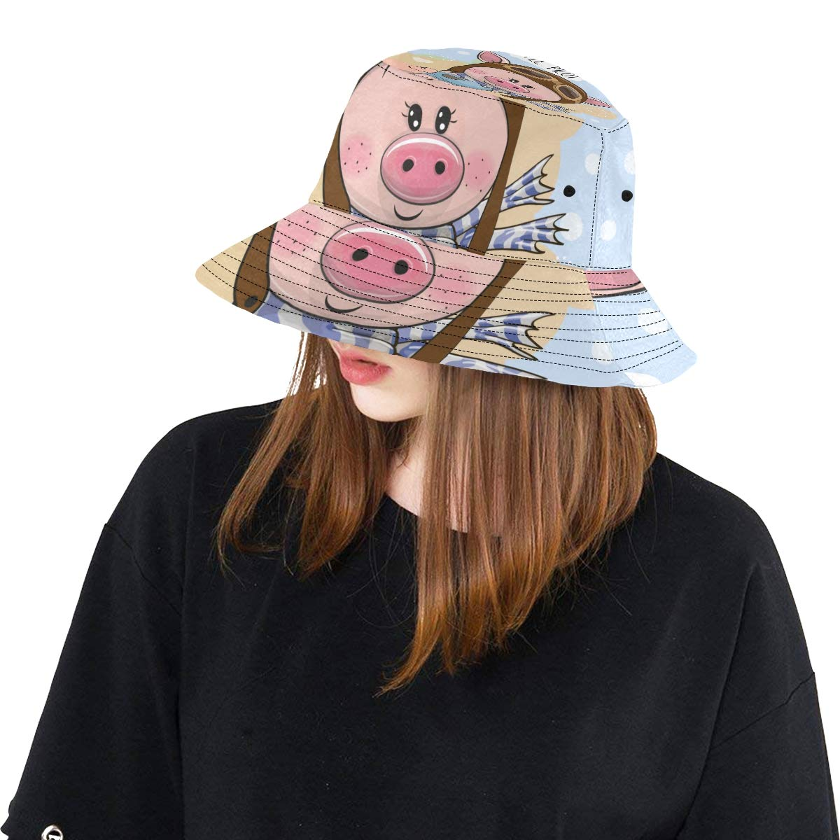 Cute Pig Wear Colorful Scarf New Summer Unisex Cotton Fashion Fishing Sun Bucket Hats for Kid Women and Men with Customize Top Packable Fisherman Cap for Outdoor Travel Teens