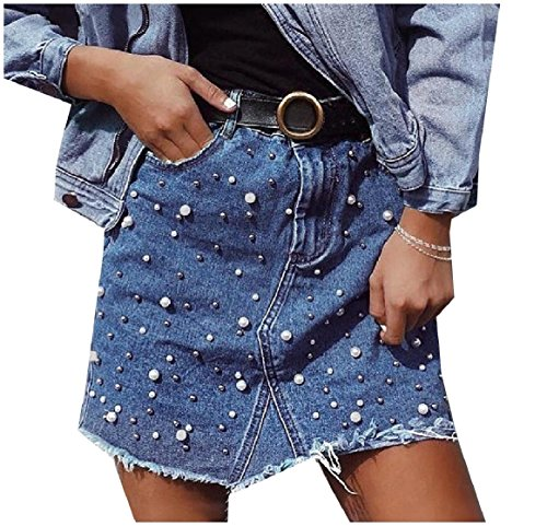 SportsX Womens Beaded Denim Raw Hem High Waist Thin Mini Pencil Skirt Blue S