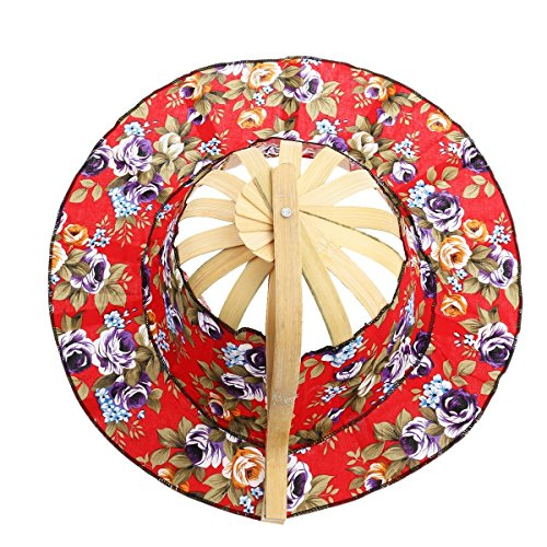 TINKSKY 2 Hand Fan Sunhat, Women 2 in 1 Portable Foldable Bamboo Frame Floral Printed Hand Fan Sunhat Hat, Gift for Women (Random Color)