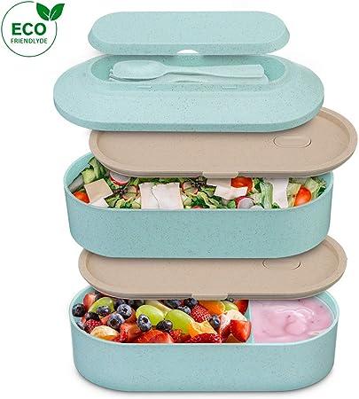 Tragbare Kinder Brotdose Bento Box Picknick Frühstücksdose Lunchbox Besteck