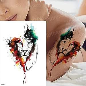 adgkitb 3 Piezas Tatuaje y Arte Corporal Cabeza de león Tatuaje ...