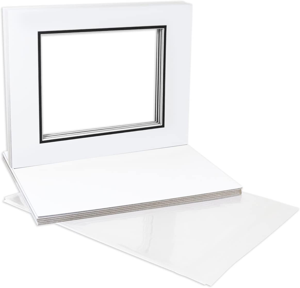 Backing Bags Pack of 10 16x20 White//Black Double Mats Mattes with White Core Bevel Cut for 11x14 Photo