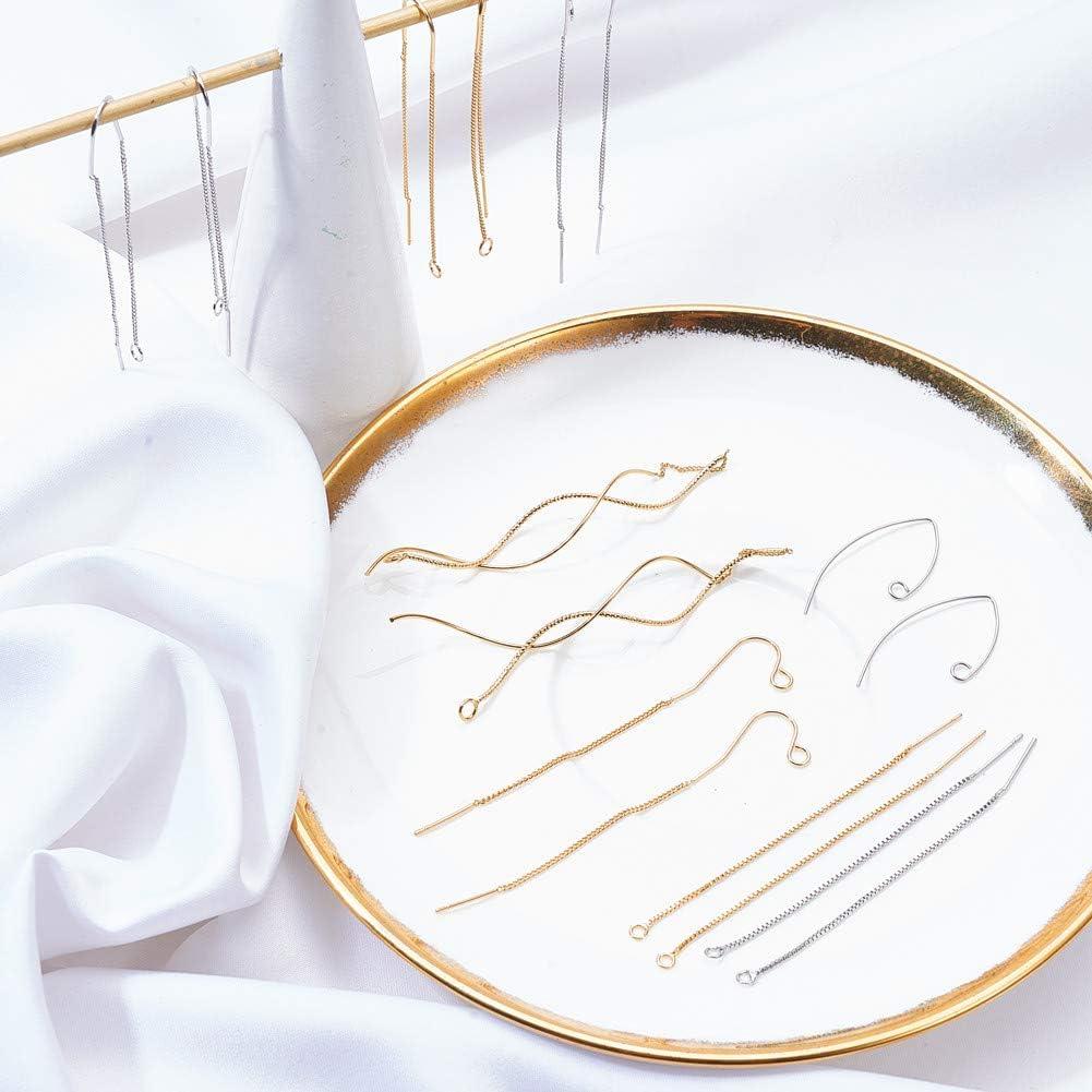 8 Pair Fil doreille Threaders Dangle Drop Cha/îne Longue Boucles doreilles avec Boucles pour Boucles doreille Conclusions Platinum /& Golden SUNNYCLUE 1 Box 20pcs