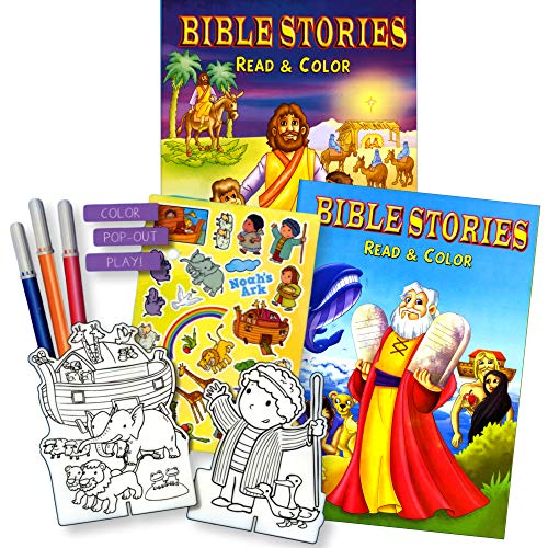 Bible Stories Coloring Book Set (2 Books ~ 96 Pages) Jesus, Noah, Daniel With Noah's Ark Stickers -