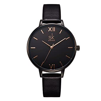 SK Fashion Ladies Watches Leather Female Quartz Watch Women Wristwatch Thin Casual Strap Watch Reloj Mujer