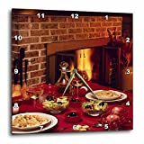 3dRose TDSwhite – Farm and Food - Food Dinner Table Set Fireplace Background - 13x13 Wall Clock (dpp_285137_2)