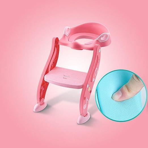 Inodoro para niños Asiento de inodoro con escalera infantil ajustable Inodoro auxiliar de niños con escalera infantil - rosa (Color : Pink PU Average code): Amazon.es: Bricolaje y herramientas