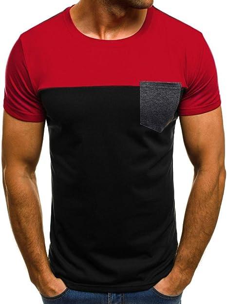 Camisas HombreCamisetas Hombre Originales Manga Corta Verano Moda Delgada Blusa Deportivas Pollover Camiseta Tops Bolsillo Casual Remera Slim Camisas (Rojo, L): Amazon.es: Deportes y aire libre