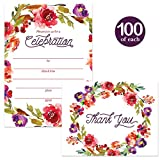 All Occasion Invitations & Matching Thank You Notes ( 100 of Each ) Set with Envelopes Fall Flower Wreath Large Party Any Event Fill-in-Style Invites & Folded Thank You Cards Best Value Combination