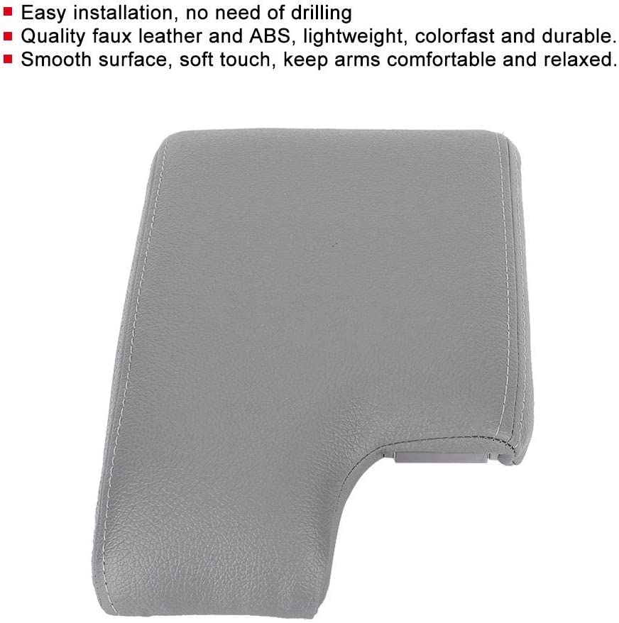 EBTOOLS Cushion Armrest Lid,Car Center Console Armrest Cover Pad Cushion Fits for E46 1999-2004 Gray