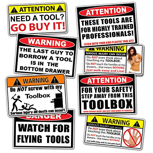 Funny Toolbox Warning Decal Sticker Tool Box Pack Set (Trailer Set Sticker)