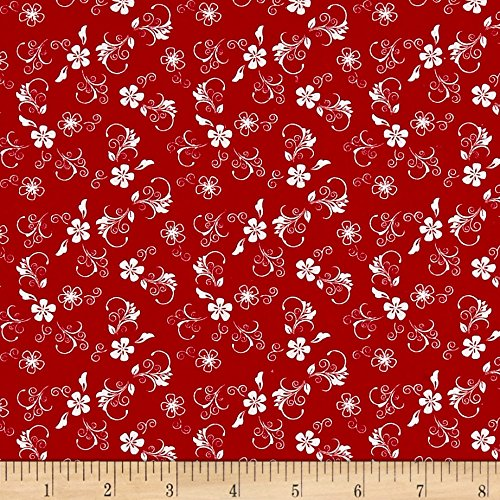 - Santee Print Works The Black Basics Flowers Red/White Fabric by The Yard