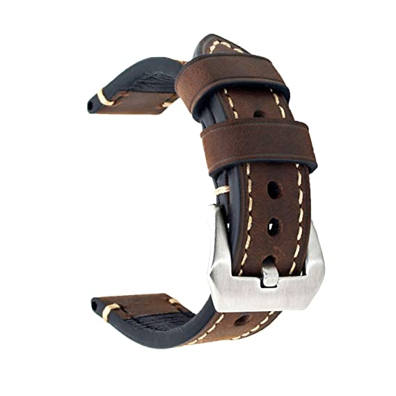 eee08a740 Dark Brown 22mm Genuine Leather Wristwatch Watch Band Oil Tan Vintage Strap  for Men with Stainless