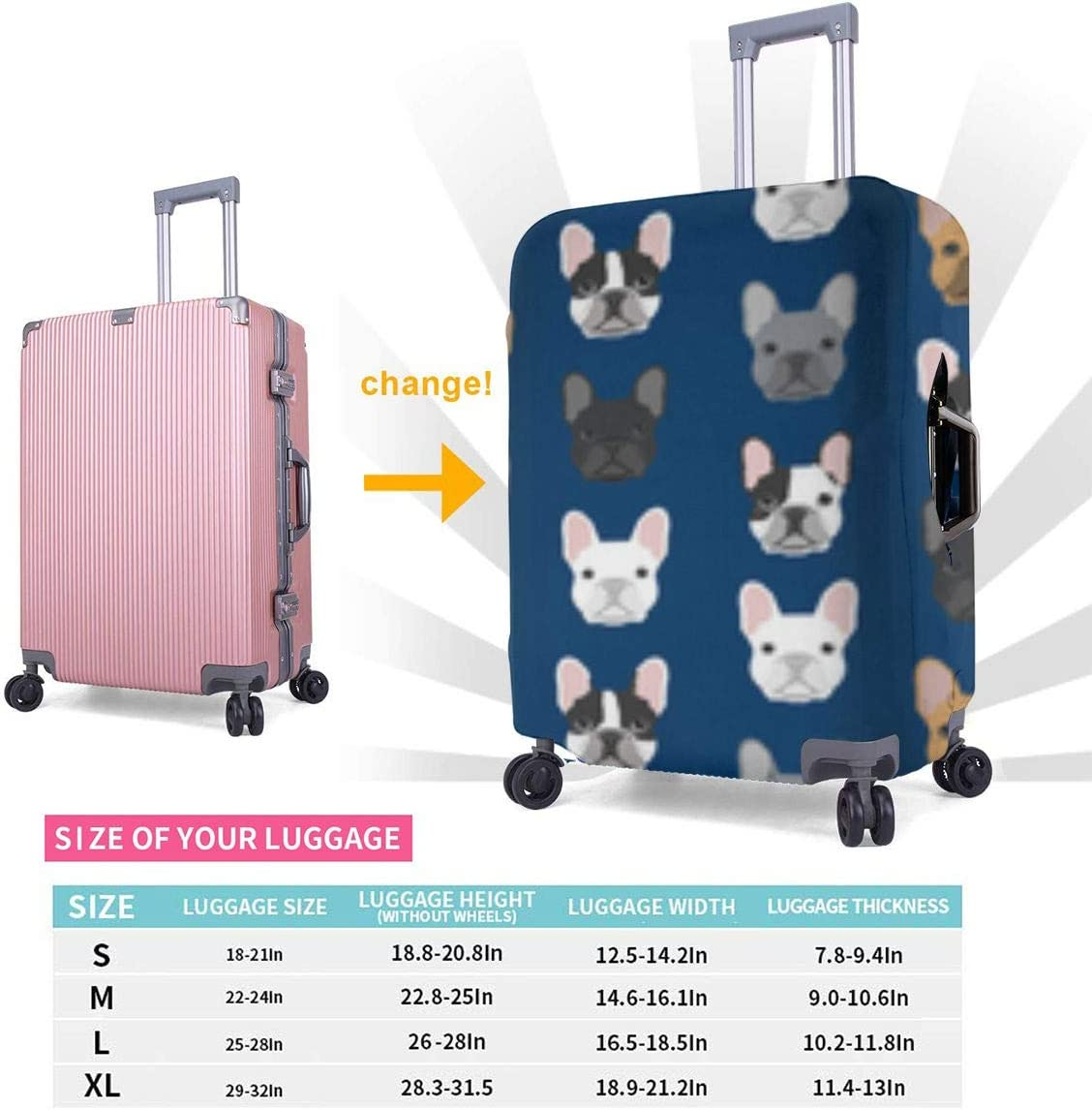 French-bulldog XL 18-32 Inch Luggage Cover Protector Bag Suitcase Cover Protectors Travel Luggage Sleeve Protector S M L XL