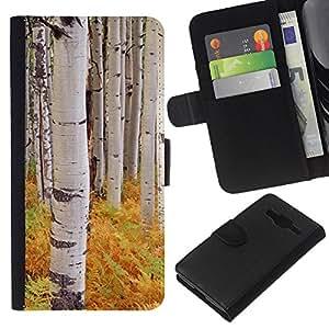 EJOY---La carpeta del tirón la caja de cuero de alta calidad de la PU Caso protector / Samsung Galaxy Core Prime / --Helechos árboles de abedul Naturaleza Amarillo