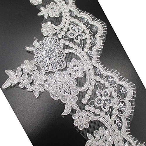 Sequins Embroidery Lace Trims Lace Appliques Patches Wedding Dress Decor Supply 5-1/2 Inch Wide (Off White-4Y)