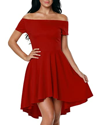 Touchie Damen Schulterfreies Kleid Skaterkleid Kurz Cocktailkleid Abenkleid  Festlich Partykleid  Amazon.de  Bekleidung a4f13c0e24