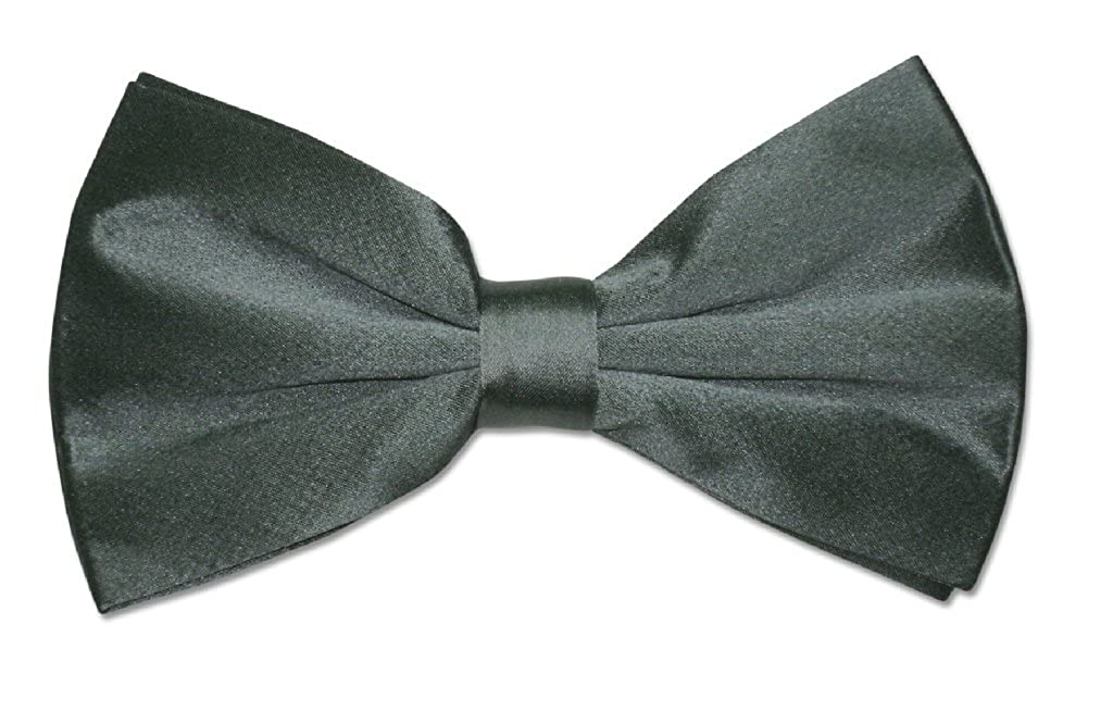 100/% SILK BOWTIE Solid CHARCOAL GRAY Green Tint Mens Bow Tie for Tuxedo or Suit