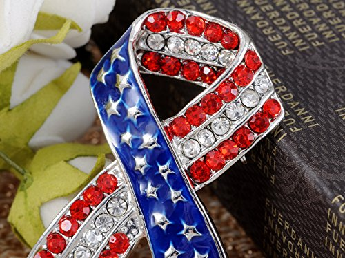 Silvery Tone Crystal Rhinestone USA Flag Brooch Pin -- July 4th Patriotic American Jewelry Photo #5