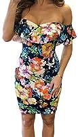 YeeATZ Women Sexy Floral Ruffle Pattern Off Shoulder Sheath Dress