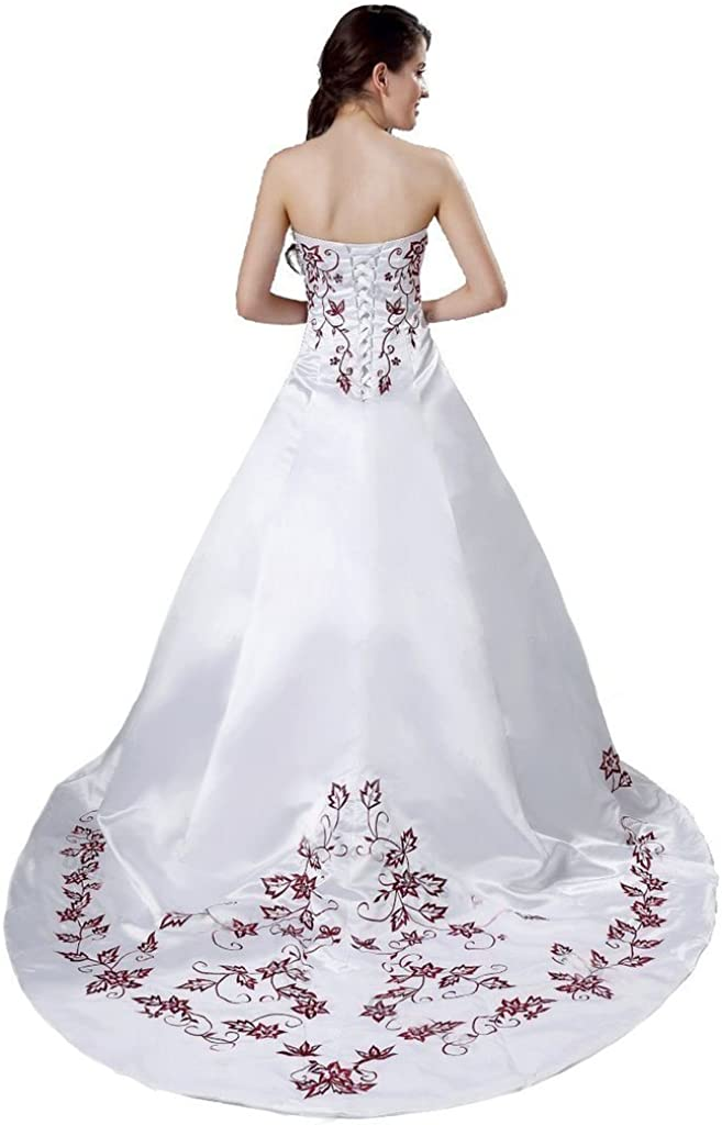Snowskite Women's Strapless Satin Burgundy Embroidery Wedding Dress Bridal Gown at  Women's Clothing store