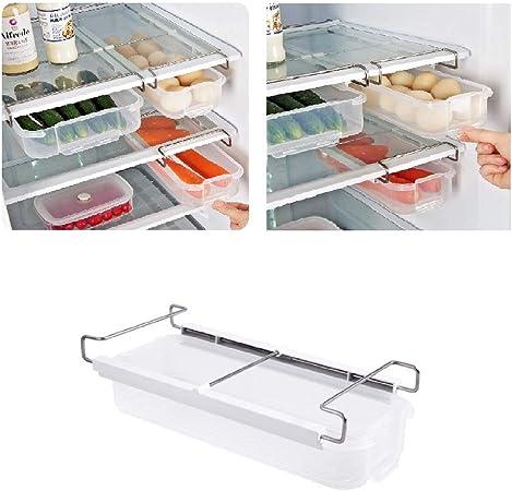 Juego de 4 organizadores de caj/ón para nevera 4 estante de almacenamiento para congelador refrigerador organizador de cocina y ahorro de espacio