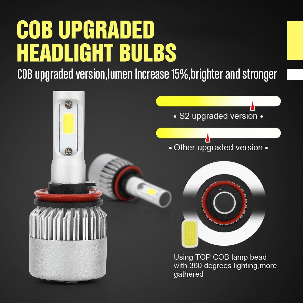 3 Yr Warranty 72W 6500K White 9000Lumens IP68 Waterproof Extremely Bright Bridgelux Philips COB LED Chips Headlight Conversion Kit KaTur LED Headlight Bulbs Conversion Kit 9007//HB5