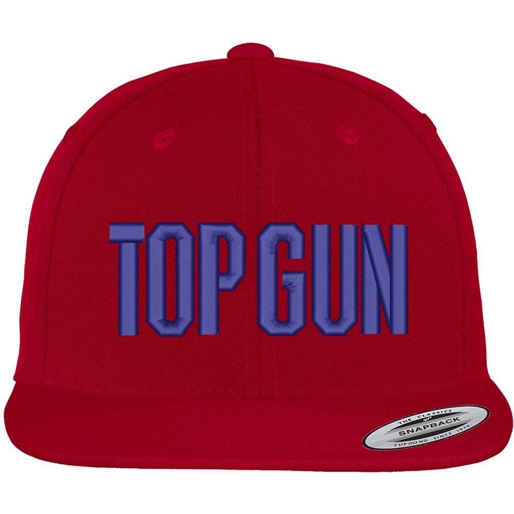 5fb1daed43de02 Trendy Apparel Shop Flexfit Top Gun Oversized Embroidered Snapback Cap -  Black at Amazon Men's Clothing store: