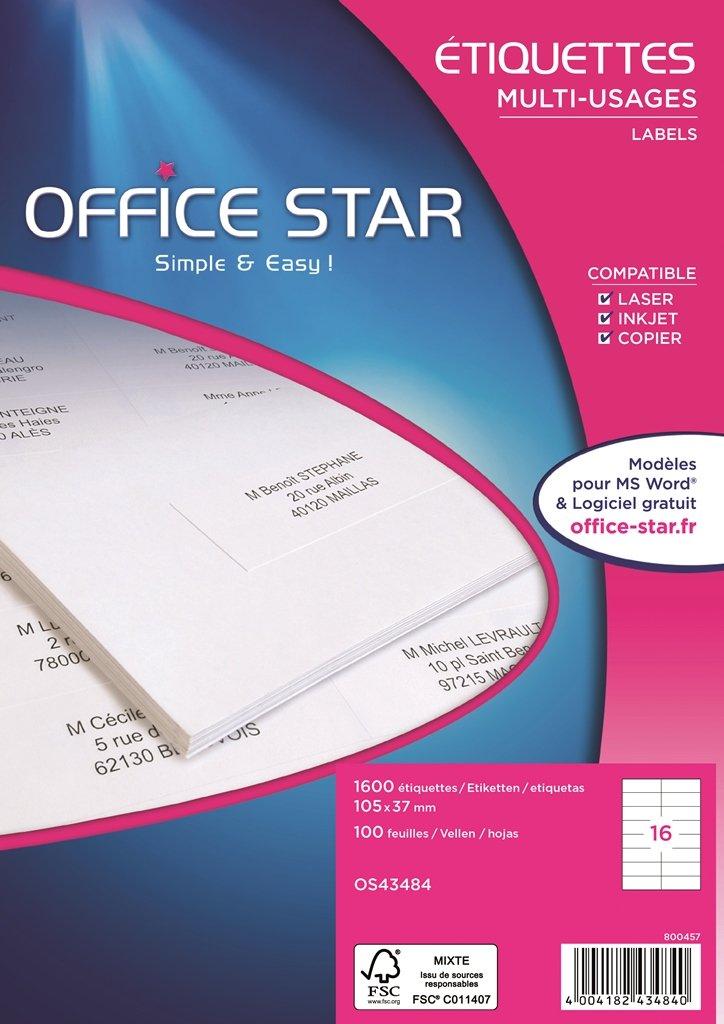 OFFICE STAR OS43484 - Confezione da 1600 etichette multiuso, 105 x 37 mm, colore: Bianco