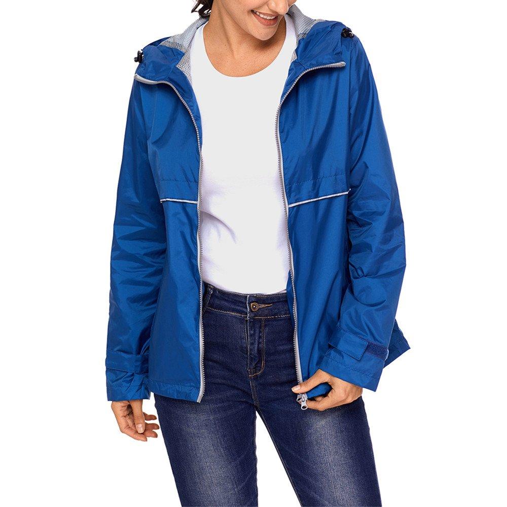 Lrud Women's Raincoat Lightweight Waterproof Rain Jacket Hoodie Casual Coat