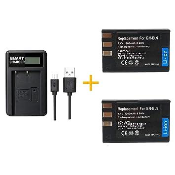 2 Pieza 1200 mAh EN-EL9 EN-EL9A EN EL9 EN EL9A Batería con Cargador de batería para Nikon EN-EL9a D40 D60 D40X D5000 (2 pcs Battery with Charger)