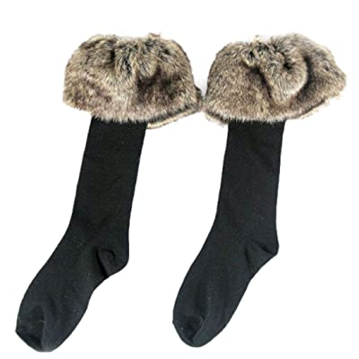 2 Pairs Women's Fashion Faux Fur Socks Leg Warmers Snow Socks Knee High Boot Socks Cuffs Cover Toppers