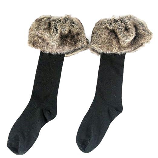 e624b4cde 2 Pairs Women s Fashion Faux Fur Socks Leg Warmers Snow Socks Knee High  Boot Socks Cuffs