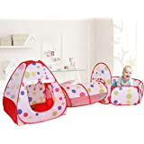 Polka Dot 3-in-1 Folding Kids Play Tent with Tunnel, Ball Pit and Zippered Storage Bag