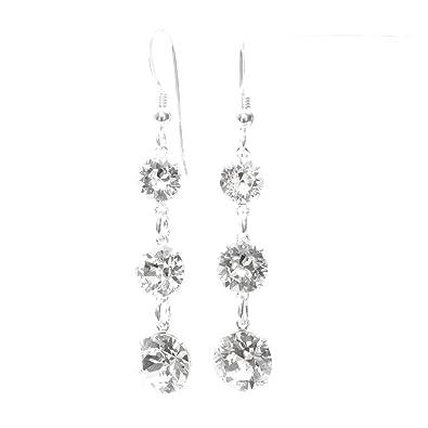 pewterhooter 925 Sterling Silver fishhook earrings handmade with sparkling Diamond White crystal from SWAROVSKI® for Women kfGga