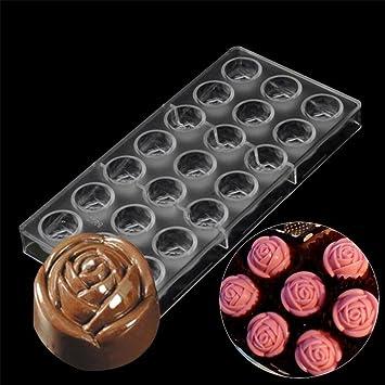 Día de San Valentín Rose Flores Forma chocolate 3d molde policarbonato Candy molde DIY Chocolate bandeja ...