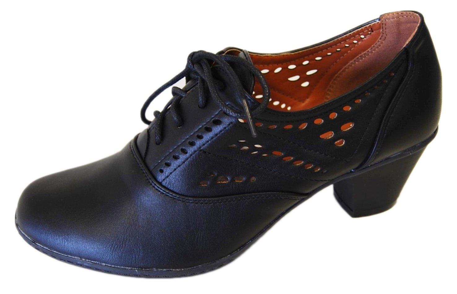 Refresh Women's London-01 Cutout Dressy Heeled Lace up Oxford Shoe (8.5 B(M) US, Black)