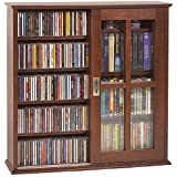 LDE LESLIE DAME Leslie Dame MS-350W Wall Mounted Sliding Door Mission Style Media Storage Cabinet, Walnut
