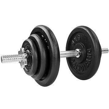 Physionics® - Mancuerna con discos de pesas de hierro fundido - 20 kg: Amazon.es: Deportes y aire libre