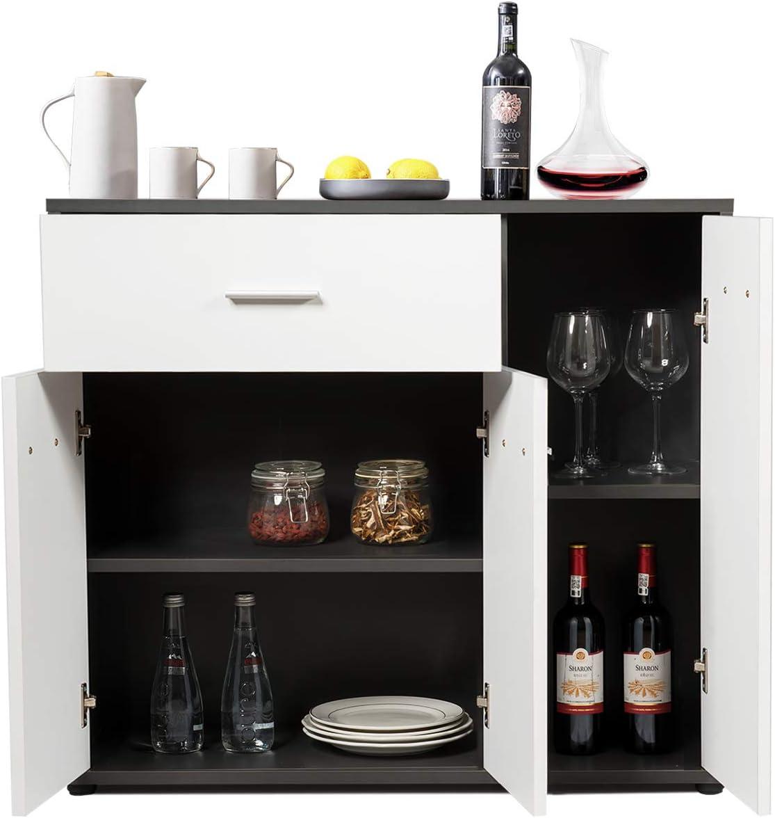 Mobile Sala da Pranzo COSTWAY Credenza con Cassetti e Ante Armadietto per Cucina con Mensola Regolabile 88x30x70cm
