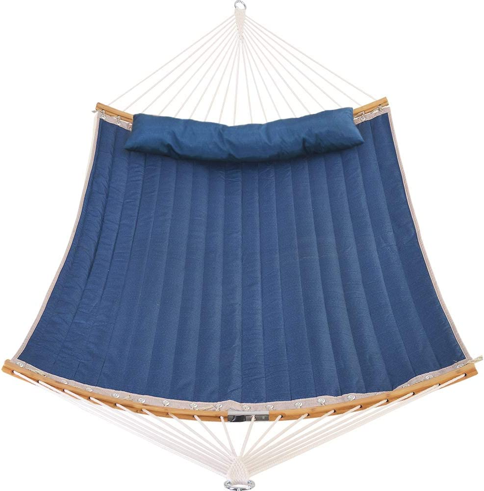 Patio Watcher 11 Feet Quilted Fabric Hammock with Curved-Bar Bamboo and Detachable Pillow, Double Hammock Perfect for Patio Yard Dark Blue : Garden & Outdoor