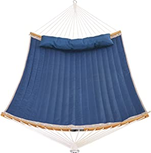Patio Watcher 11 Feet Quilted Fabric Hammock with Curved-Bar Bamboo and Detachable Pillow, Double Hammock Perfect for Patio Yard Dark Blue