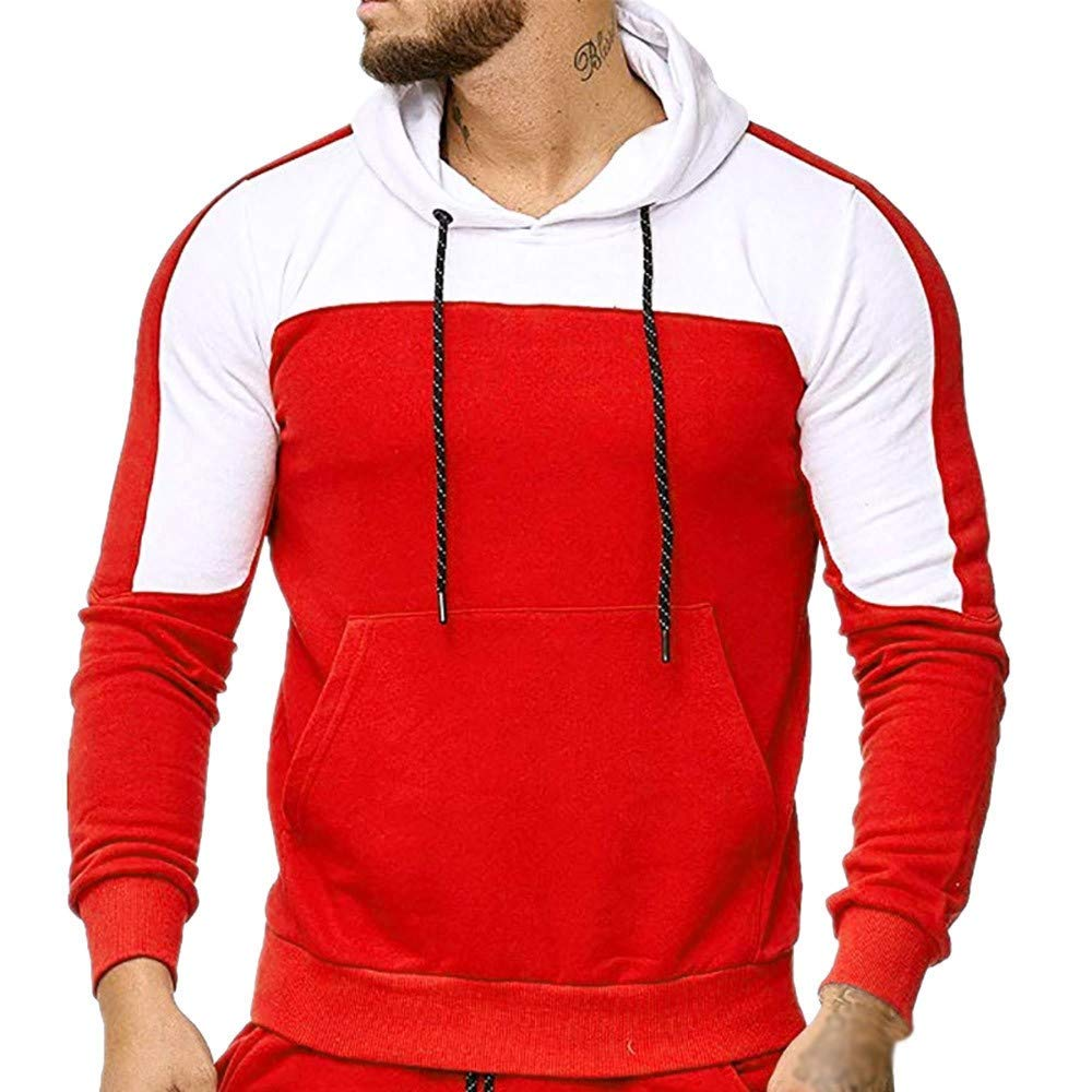 WM & MW Mens Hoodie Sweatshirt Hip Hop Casual Slim Long Sleeve Patchwork Hooded Pullover Coat Tops Blouse at Amazon Mens Clothing store: