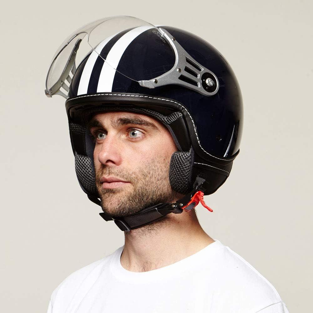 di colore blu con strisce bianche casco con visiera nelle taglie XS casco da roller XL Vinz casco alla moda casco da moto casco da jet certificato ECE.